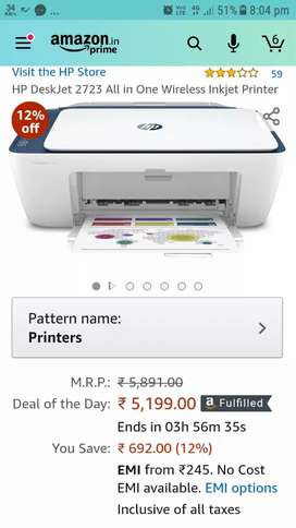 HP Printer wireless with black and colour print