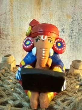 Terracotta handmade Ganesha with cot