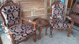 Two chair with coffee table made in pure sheshum