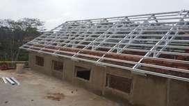 Konstruksi pasang baja ringan atap kanopi dan baja berat bentang panjg