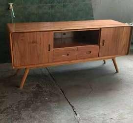 Bufed tv retro minimalis kayu jati
