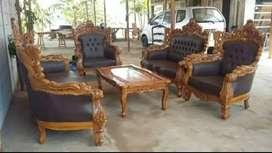 Kursi tamu sofa Romawi ukir mewah material kayu jati ajf320