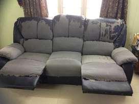three years old recliner sofa- 3 plus 1 plus 1
