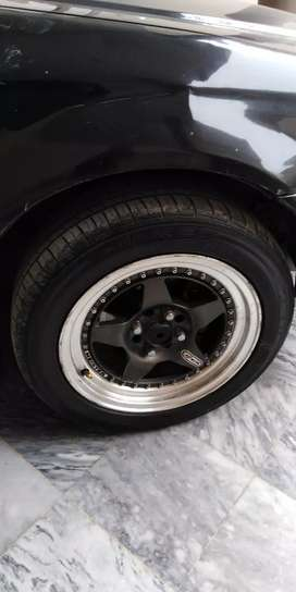 Original 100% authentic Work Miesters 15 inch alloy rims with tyres