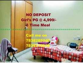 No Depst,0 Brkrg,3Tm Meal,Girls PG Fully furnished