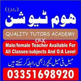 Experienced Male/Female tutors available for all Classes and Subjects
