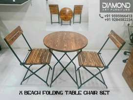 BUY NEW CAFE HOTEL RESTAURANT ANTIQUE FOLDING TABLE CHAIR SET (FACTORY