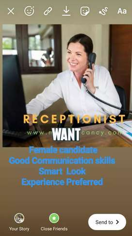 We are hiring female Receptionist.
