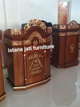 Mimbar Masjid Musholla Material Mimbar Pudium kayu jati