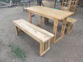 Meja kursi warkop cafe kayu Jati belanda