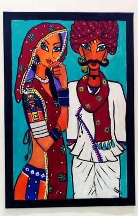 "Beautiful handmade arabic woman painting 24"" by 18"" inch size."