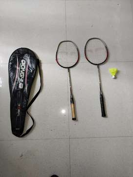 2 Badminton With Cover And One Yonex Cock (High Quality)