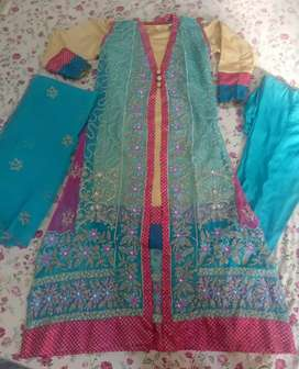 Fancy chiffon full embroided 4 piece suit