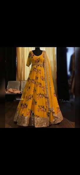Yellowed Anarkali Surat cotton house