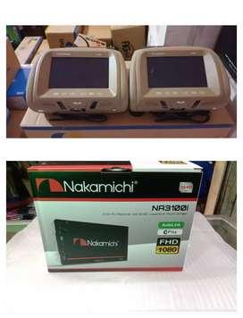 Plus pasang. DobelDin Nakamichi Na 3100i fullglass + Headrest AVA 8 in