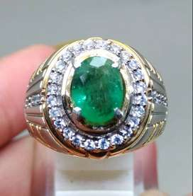 Cincin Permata Batu Zamrud Emerald Beril oval Natural