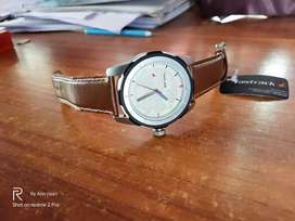 fastrack leather belt watch