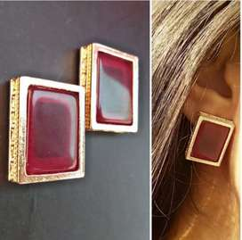 Red Square stud earrings