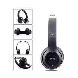 Rechargeable P47 Bluetooth Headphone Radio FM Long Battery Black