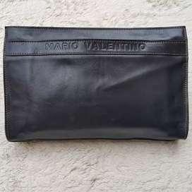 Tas import eks MARIO VALENTINO made in Italy clutch kulit asli tebal