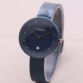 jam tangan lorenzo dark blue women only set lengkap original