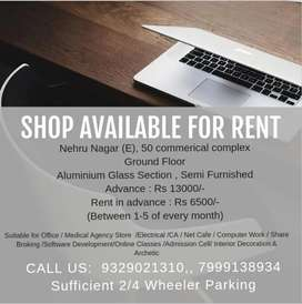 Shop available GF in Rent at  Commercial Complex Nehru Nagar east
