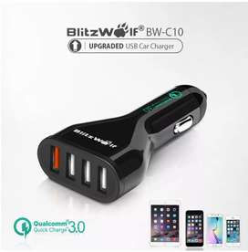 Blitzwolf QC3.0 4 ports Car charger 54W with Blitzwolf microusb cable