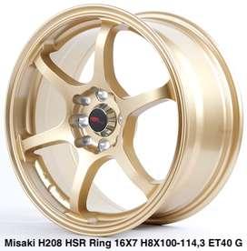 Velg murahnya MISAKI H208 HSR R16X7 H8X100-114,3 ET40 GOLD