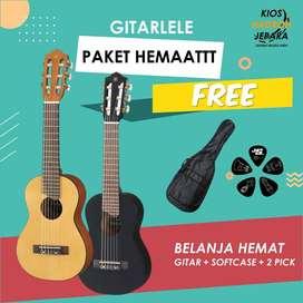 PAKET HEMAT 1 pcs Gitar Lele custom + BONUS (Softcase / Tas & Pick)