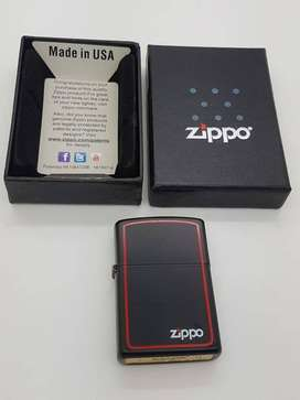 KOREK API ZIPPO POLOS BLACK frame merah