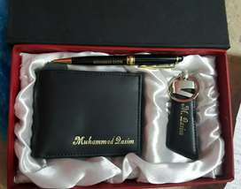 Customize Name Leather wallet keychain pen set
