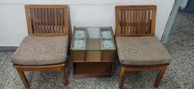 Cushioned Wooden chairs with coffee Table