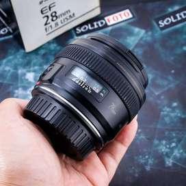 Canon 28mm F1.8 USM. Fullset. murah. lensa fix