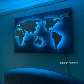 Peta Indonesia & Dunia Pajangan dinding Neon Led Bisa Gambar Sendiri