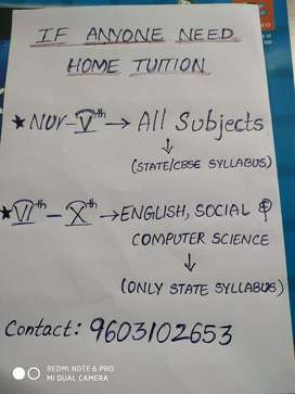 Any one need home tutor for English and social subjects contact me