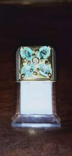 Cincin Perak Berlian zamrud