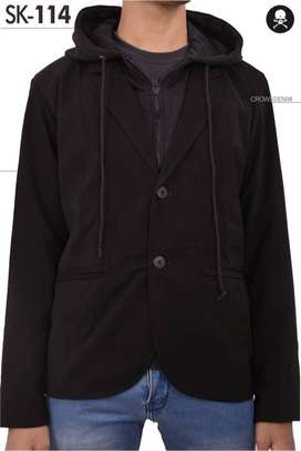 Blazer Casual with Hoodie Black Style