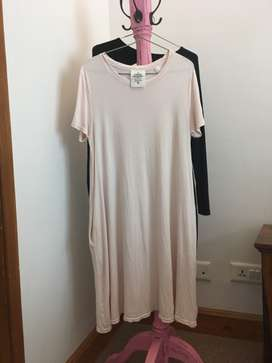Pink dress for women with pockets free size imported