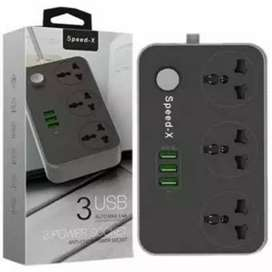 SPEED-X POWER UNIVERSAL TRAVEL 3 SOCKET + 3USB Home Delivery Available