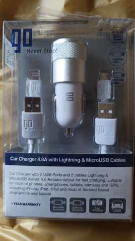 Original Go Car Charger With 2 Usb Ports + 2 Cables iPhone Micro USB