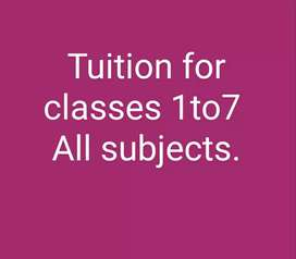 Home tuition for classes 1 to 7