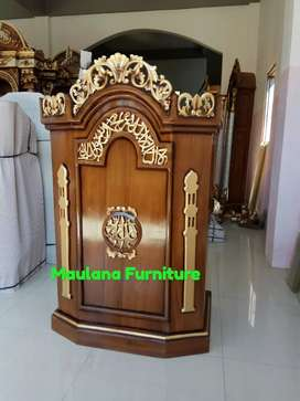 Mimbar masjid podium material jati