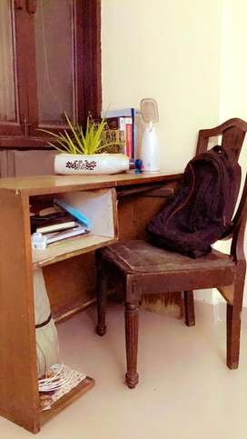 Wooden study table with wooden chair