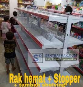 Rak gondola stopper hemat murah terjangkau supermarket minimarket toko