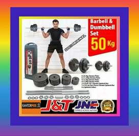 alat fitness gym dumbel barbel set 50 kg promo original