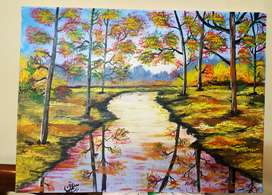 Acrylic paint orignal painting of autumn forest