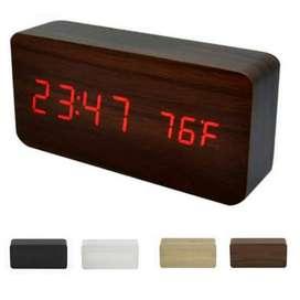 Jam Meja Motif Kayu - Digital LED Wooden Clock ( RECTANGLE ) - WC-800