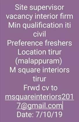 Site supervisor vacancy (freshers)