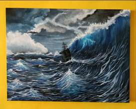 "Canvas painting ""stormy night"""