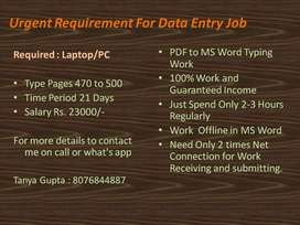 Outsourcing Company Wants Data Entry Operators!! Typing Work